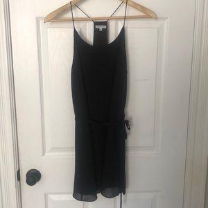 Black naked zebra mini dress with tie